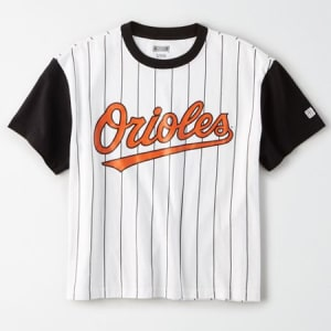 Tailgate Women's Orioles Cropped Pinstripe T-Shirt White M