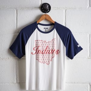 Tailgate Women's Cleveland Indians Cut-Off Baseball Tee White XS