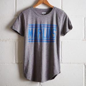 Tailgate Women's Marlins Chest Stripe T-Shirt Gray Heather S