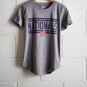 Tailgate Women's Nationals Chest Stripe T-Shirt Gray Heather XS