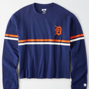 Tailgate Women's Detroit Tigers Cropped T-Shirt Navy XS