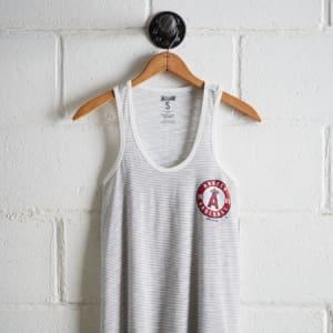 Tailgate Women's LA Angels Striped Scoop Neck Tank White XS