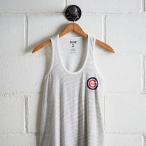 Tailgate Women's Cubs Striped Scoop Neck Tank White L