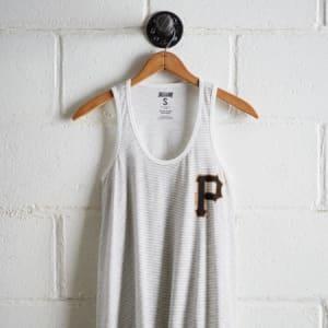 Tailgate Women's Pittsburgh Pirates Striped Scoop Neck Tank White L