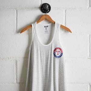 Tailgate Women's Texas Rangers Striped Scoop Neck Tank White M