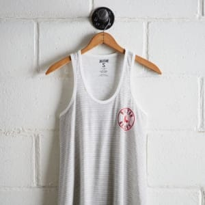 Tailgate Women's Red Sox Striped Scoop Neck Tank White XS