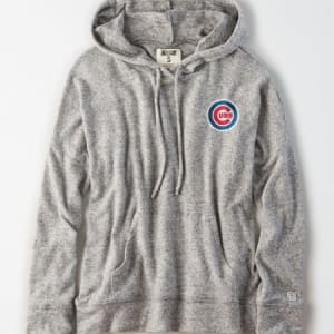 Tailgate Women's Chicago Cubs Plush Hoodie Light Heather Gray L