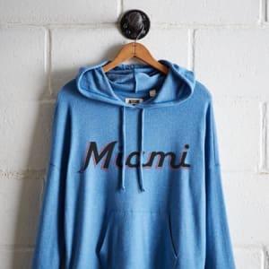 Tailgate Women's Miami Marlins Plush Hoodie Ocean XS