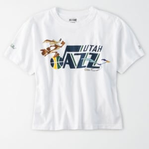 Tailgate Women's Utah Jazz x Looney Tunes Cropped T-Shirt White XL