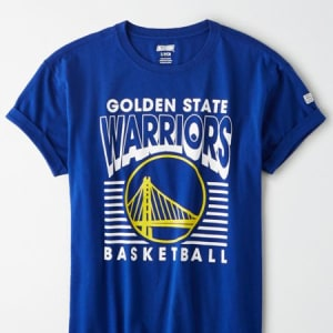 Tailgate Women's Golden State Warriors Rolled Sleeve T-Shirt Brilliant Blue L