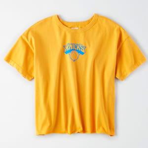 Tailgate Women's New York Knicks Cropped T-Shirt Orange L