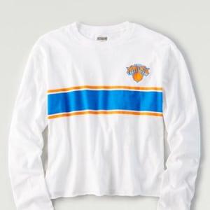 Tailgate Women's NY Knicks Long Sleeve T-Shirt White M
