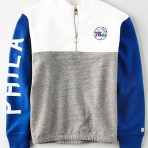 Tailgate Women's Philadelphia 76ers Quarter-Zip Sweatshirt White S