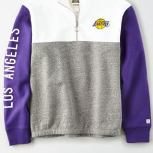 Tailgate Women's LA Lakers Quarter-Zip Sweatshirt White M