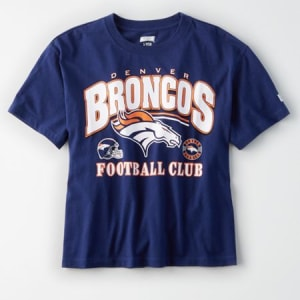 Tailgate Women's Denver Broncos Cropped T-Shirt Blue XL