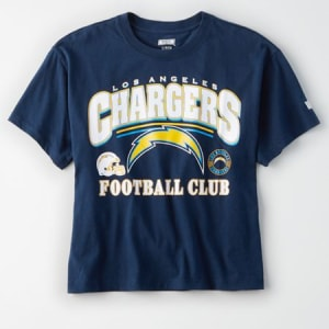 Tailgate Women's Los Angeles Chargers Cropped T-Shirt Basic Navy M