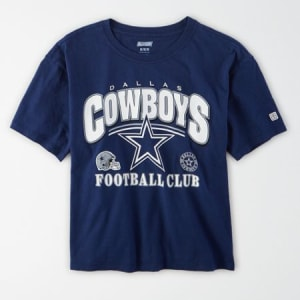 Tailgate Women's Dallas Cowboys Cropped T-Shirt Navy M