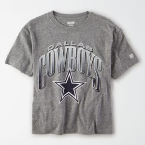 Tailgate Women's Dallas Cowboys Cropped T-Shirt Gray Heather S