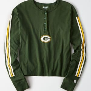 Tailgate Women's Green Bay Packers Cropped Henley Tee Team Green S