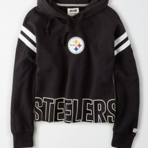 Tailgate Women's Pittsburgh Steelers Cropped Hoodie Bold Black XL