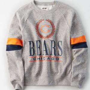 Tailgate Women's Chicago Bears Raglan Sweatshirt Gray Heather XS