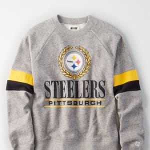 Tailgate Women's Pittsburgh Steelers Raglan Sweatshirt Gray Heather XS