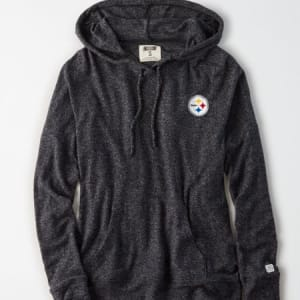 Tailgate Women's Pittsburgh Steelers Plush Hoodie Charcoal S