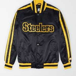Tailgate X Starter Men's Pittsburgh Steelers Varsity Jacket Bold Black XS