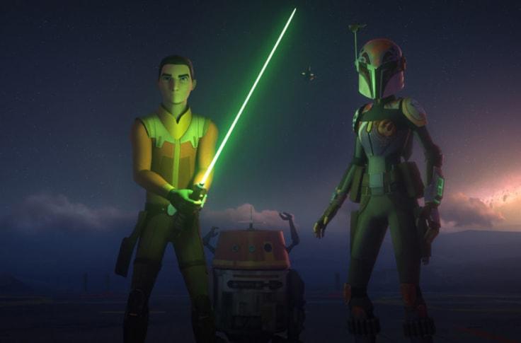 "Ezra Bridger (Taylor Gray) left, Chopper droid middle, and Sabine Wren (Tiya Sircar) right in ""Star Wars: Rebels"""