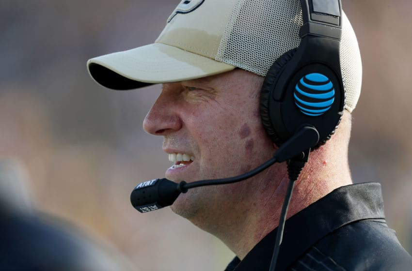 COLUMBIA, MO - SEPTEMBER 16: Head coach Jeff Brohm of the Purdue Boilermakers wathes from the sidelines during the game against the Missouri Tigers at Faurot Field/Memorial Stadium on September 16, 2017 in Columbia, Missouri. (Photo by Jamie Squire/Getty Images)
