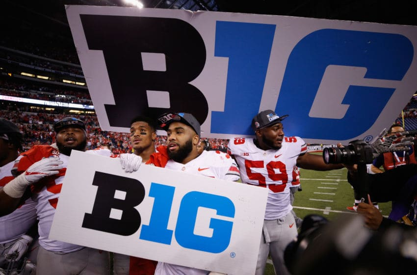 INDIANAPOLIS, IN - DECEMBER 02: The Ohio State Buckeyes celebrate after their 27-21 win over the Wisconsin Badgers during the Big Ten Championship game at Lucas Oil Stadium on December 2, 2017 in Indianapolis, Indiana. (Photo by Joe Robbins/Getty Images)