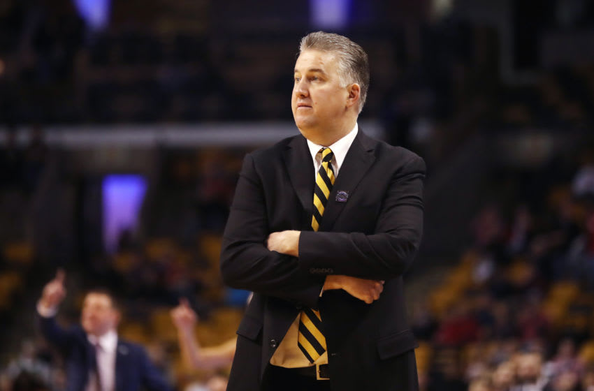 BOSTON, MA - MARCH 23: Head coach Matt Painter of the Purdue Boilermakers looks on against the Texas Tech Red Raiders in the 2018 NCAA Men's Basketball Tournament East Regional at TD Garden on March 23, 2018 in Boston, Massachusetts. The Texas Tech Red Raiders defeated the Purdue Boilermakers 78-65. (Photo by Elsa/Getty Images)