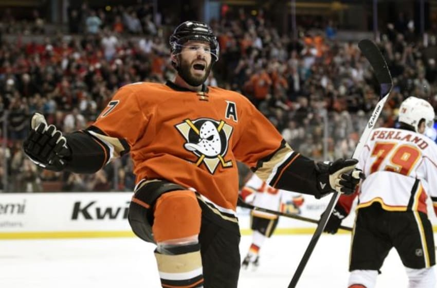 Feb 21, 2016; Anaheim, CA, USA; Anaheim Ducks center Ryan Kesler (17) celebrates after scoring a goal against the Calgary Flames during the second period at Honda Center. Mandatory Credit: Kelvin Kuo-USA TODAY Sports