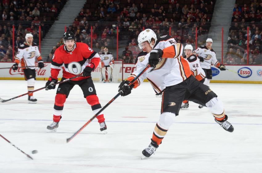 OTTAWA, ON - FEBRUARY 7: Rickard Rakell #67 of the Anaheim Ducks shoots the puck against the Ottawa Senators at Canadian Tire Centre on February 7, 2019 in Ottawa, Ontario, Canada. (Photo by Matt Zambonin/NHLI via Getty Images)