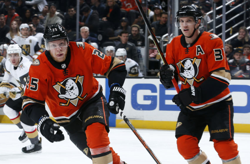 ANAHEIM, CA - DECEMBER 27: Ondrej Kase #25 and Jakob Silfverberg #33 of the Anaheim Ducks skate during the game against the Vegas Golden Knights at Honda Center on December 27, 2019 in Anaheim, California. (Photo by Debora Robinson/NHLI via Getty Images)