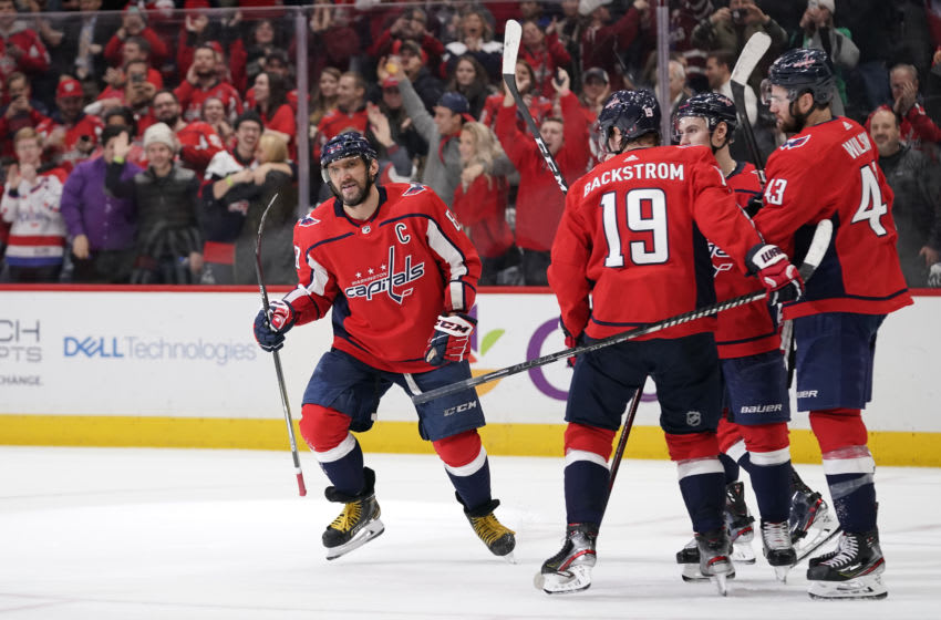 WASHINGTON, DC - JANUARY 07: Alex Ovechkin #8 of the Washington Capitals celebrates after scoring his second goal of the game against the Ottawa Senators in the third period at Capital One Arena on January 7, 2020 in Washington, DC. (Photo by Patrick McDermott/NHLI via Getty Images)