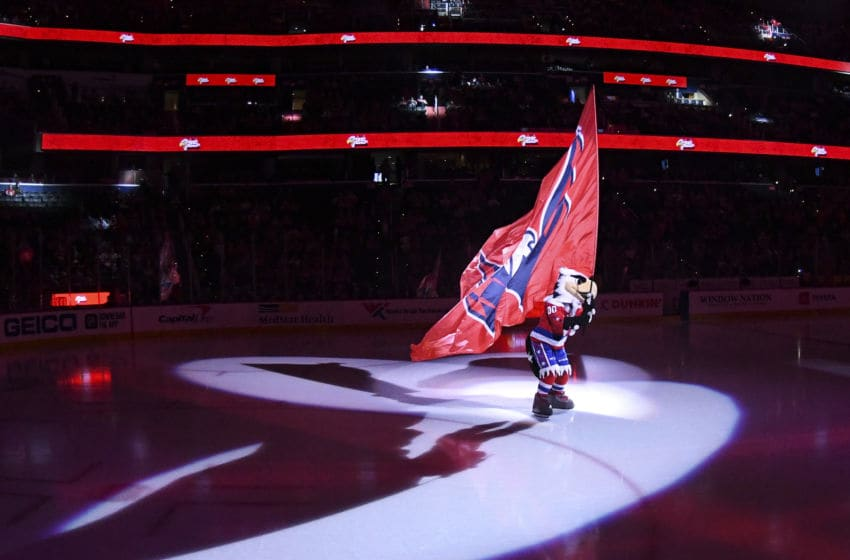 WASHINGTON, DC - JANUARY 16: The Washington Capitals mascot, Slapshot takes the ice prior to the game against the New Jersey Devils on January 16, 2020 at the Capital One Arena in Washington, D.C. (Photo by Mark Goldman/Icon Sportswire via Getty Images)