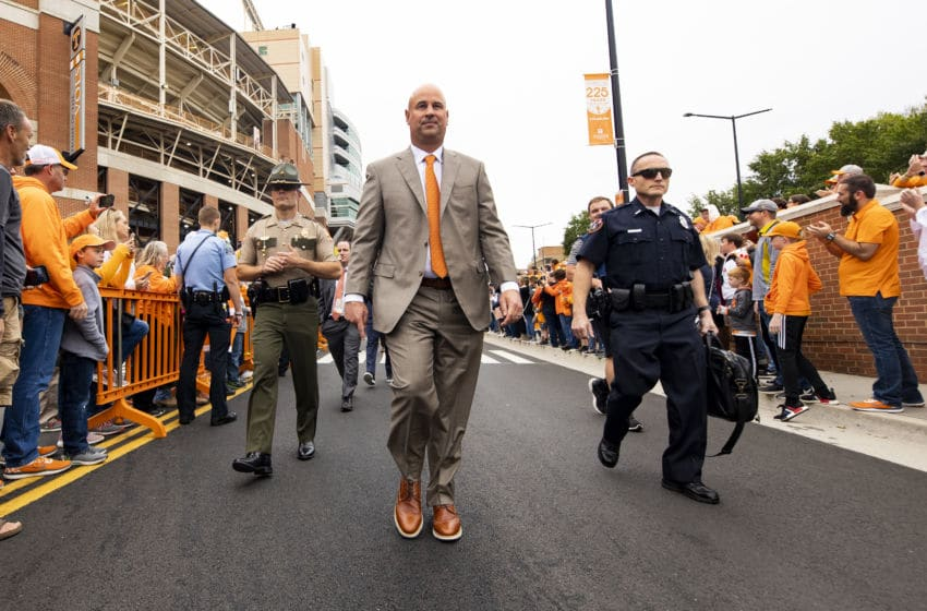 KNOXVILLE, TN - OCTOBER 12: Head coach Jeremy Pruitt of the Tennessee Volunteers arrives to Neyland Stadium prior to the game against the Mississippi State Bulldogs on October 12, 2019 in Knoxville, Tennessee. (Photo by Carmen Mandato/Getty Images)
