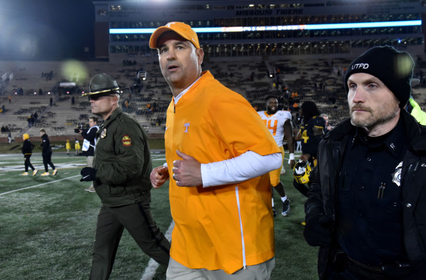 COLUMBIA, MISSOURI - NOVEMBER 23: Head coach Jeremy Pruitt of the Tennessee Volunteers runs off the field after their 24-20 win against the Missouri Tigers at Faurot Field/Memorial Stadium on November 23, 2019 in Columbia, Missouri. (Photo by Ed Zurga/Getty Images)
