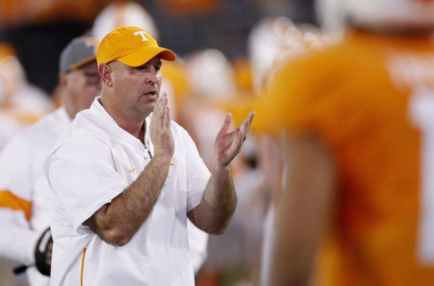 JACKSONVILLE, FL - JANUARY 02: Head coach Jeremy Pruitt of the Tennessee Volunteers looks on in the first half of the TaxSlayer Gator Bowl against the Indiana Hoosiers at TIAA Bank Field on January 2, 2020 in Jacksonville, Florida. (Photo by Joe Robbins/Getty Images)