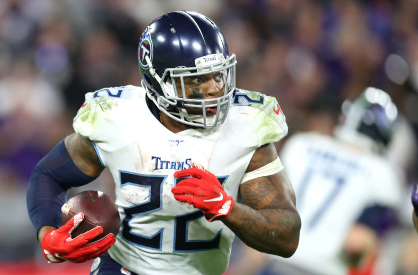 BALTIMORE, MARYLAND - JANUARY 11: Derrick Henry #22 of the Tennessee Titans runs the ball against the Baltimore Ravens during the AFC Divisional Playoff game at M&T Bank Stadium on January 11, 2020 in Baltimore, Maryland. (Photo by Maddie Meyer/Getty Images)