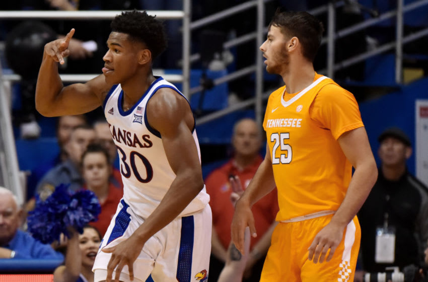 LAWRENCE, KANSAS - JANUARY 25: Ochai Agbaji #30 of the Kansas Jayhawks celebrates a shot against Santiago Vescovi #25 of the Tennessee Volunteers in the second half at Allen Fieldhouse on January 25, 2020 in Lawrence, Kansas. (Photo by Ed Zurga/Getty Images)