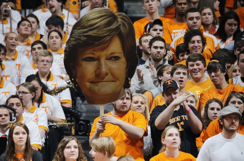 KNOXVILLE, TN - JANUARY 21: Tennessee Volunteers fans hold up a cardboard photo of women's basketball coach Pat Summitt during the game against the Connecticut Huskies at Thompson-Boling Arena on January 21, 2012 in Knoxville, Tennessee. Tennessee defeated Connecticut 60-57. (Photo by Joe Robbins/Getty Images)