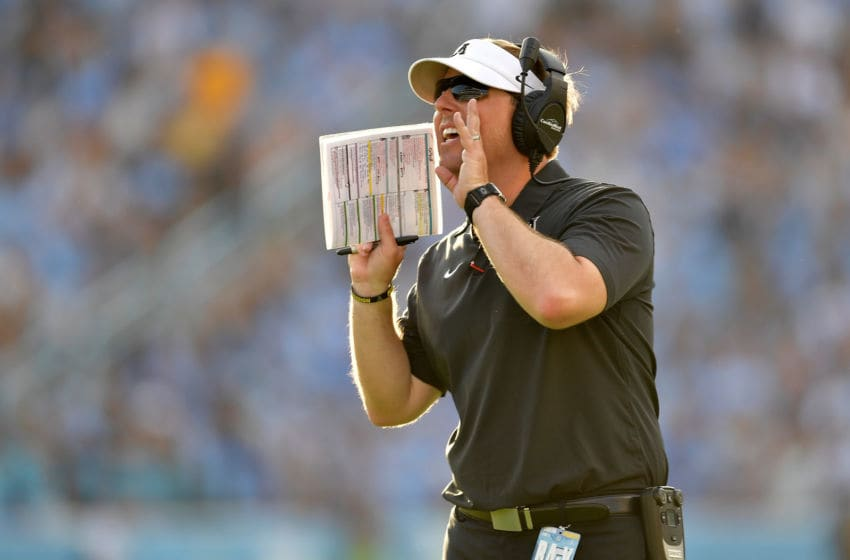 CHAPEL HILL, NORTH CAROLINA - SEPTEMBER 21: Head coach Eliah Drinkwitz of the Appalachian State Mountaineers directs his team during the second half of their game against the North Carolina Tar Heels at Kenan Stadium on September 21, 2019 in Chapel Hill, North Carolina. The Mountaineers won 34-31. (Photo by Grant Halverson/Getty Images)