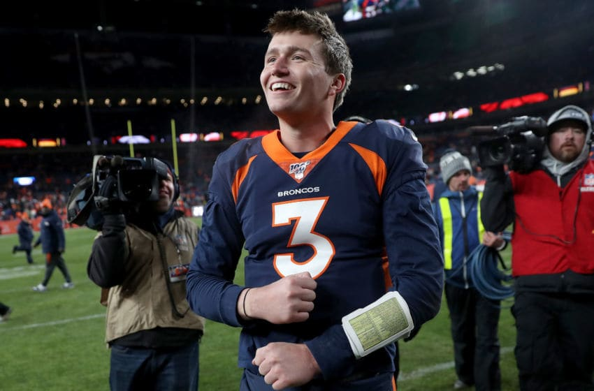 DENVER, COLORADO - DECEMBER 01: Quarterback Drew Lock #3 of the Denver Broncos celebrates as he leaves the field after their win against the Los Angeles Chargers at Empower Field at Mile High on December 01, 2019 in Denver, Colorado. (Photo by Matthew Stockman/Getty Images)