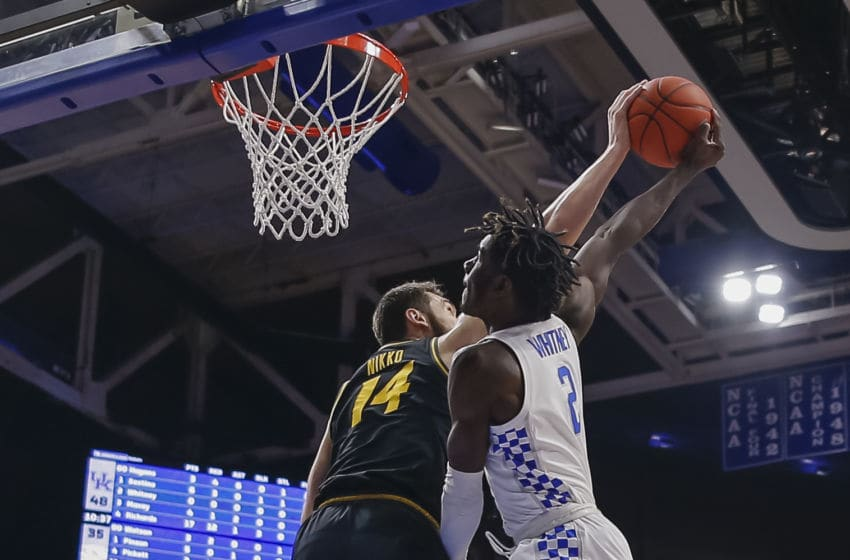 LEXINGTON, KY - JANUARY 04: Kahlil Whitney #2 of the Kentucky Wildcats has is shot blocked by Reed Nikko #14 of the Missouri Tigers during the second half at Rupp Arena on January 4, 2020 in Lexington, Kentucky. (Photo by Michael Hickey/Getty Images)