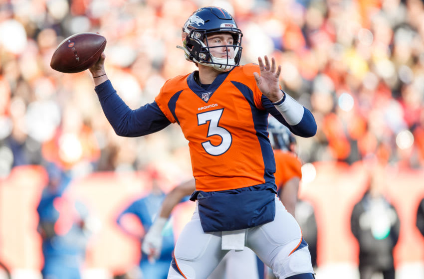 DENVER, CO - DECEMBER 29: Quarterback Drew Lock #3 of the Denver Broncos throws a pass against the Oakland Raiders during the first quarter at Empower Field at Mile High on December 29, 2019 in Denver, Colorado. The Broncos defeated the Raiders 16-15. (Photo by Justin Edmonds/Getty Images)