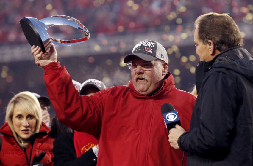KANSAS CITY, MISSOURI - JANUARY 19: Head coach Andy Reid of the Kansas City Chiefs holds up the Lamar Hunt trophy after defeating the Tennessee Titans in the AFC Championship Game at Arrowhead Stadium on January 19, 2020 in Kansas City, Missouri. The Chiefs defeated the Titans 35-24. (Photo by David Eulitt/Getty Images)