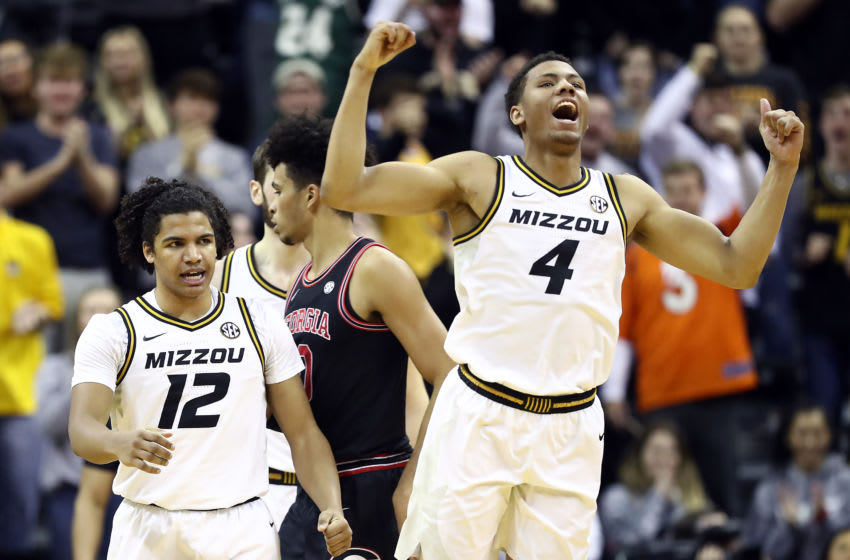COLUMBIA, MISSOURI - JANUARY 28: Javon Pickett #4 and Dru Smith #12 of the Missouri Tigers celebrate after a basket during the game against the Georgia Bulldogs at Mizzou Arena on January 28, 2020 in Columbia, Missouri. (Photo by Jamie Squire/Getty Images)