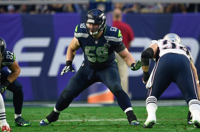 Feb 1, 2015; Glendale, AZ, USA; Seattle Seahawks tackle Justin Britt (68) during Super Bowl XLIX against the New England Patriots at University of Phoenix Stadium. The Patriots defeated the Seahawks 28-24. Mandatory Credit: Kyle Terada-USA TODAY Sports